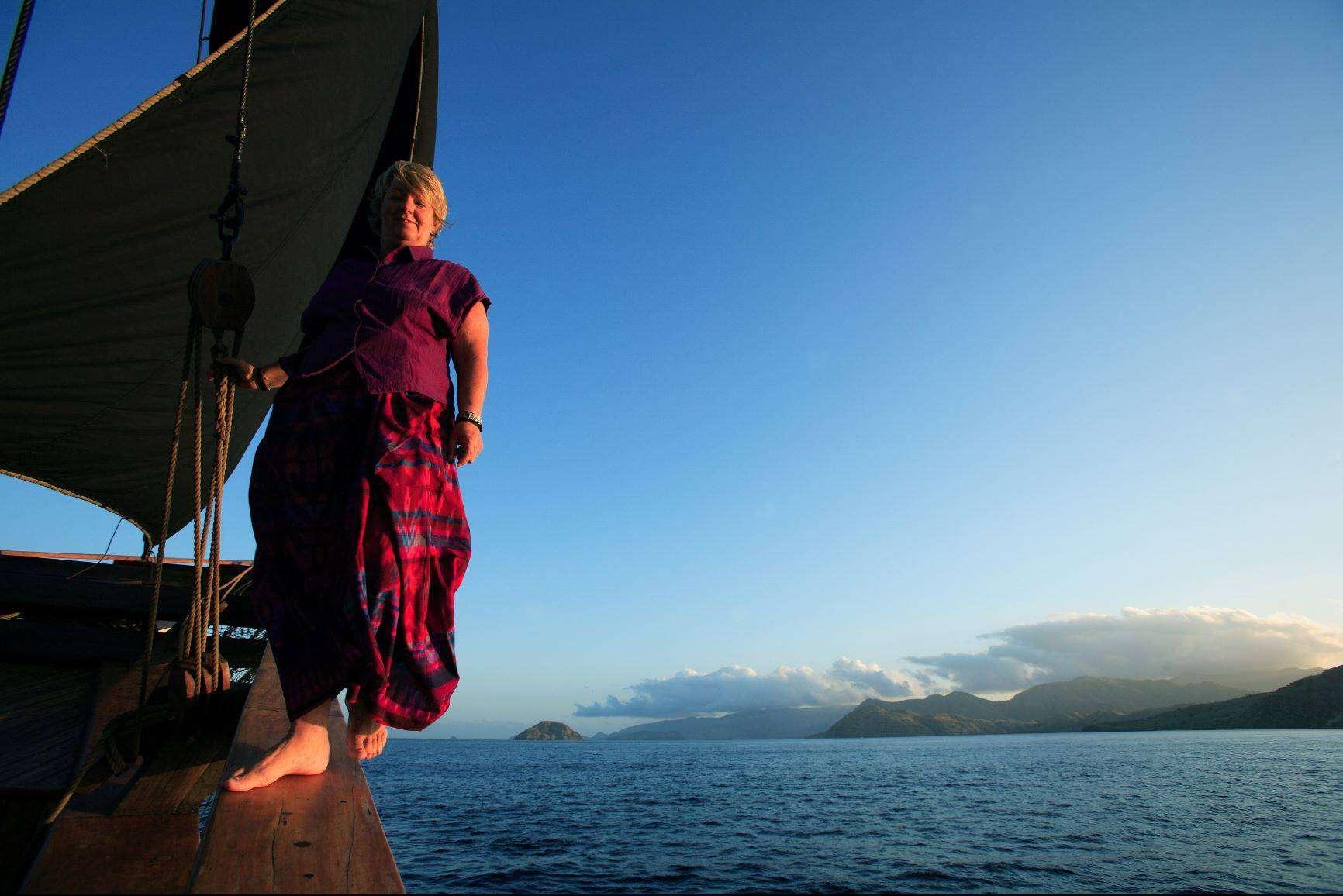 Patti Seery aboard Silolona 1